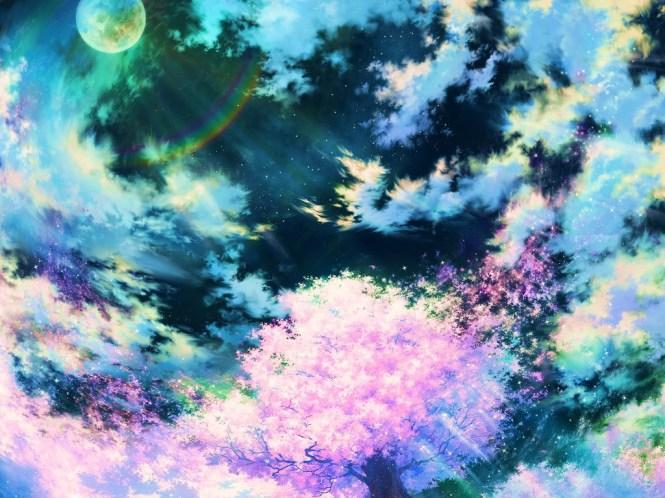Moon Light Sakura Tree Wallpaper__yvt2